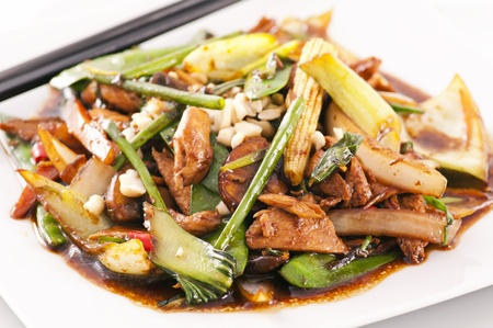 Hot spicy chicken with vegetables  photo