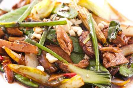 chinese meal: chicken with vegetables asian stylie