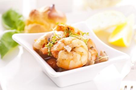 bigne: Tapas with fried prawns Stock Photo