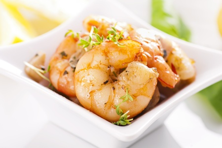 gambas: roasted prawns in white plate Stock Photo