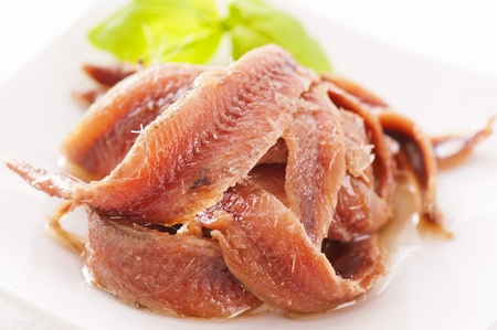 anchovy fish: Anchovy pickled as close up Stock Photo