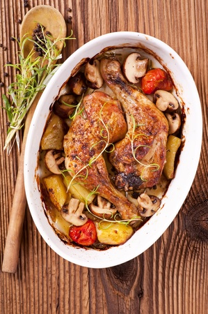chicken roasted with the mushrooms and potato photo