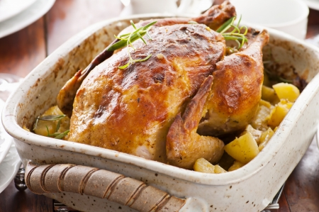 roasted chicken: roasted chicken Stock Photo