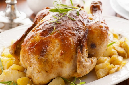 Chicken roasted with potato photo