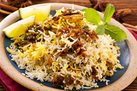 Biryani with lime pieces photo