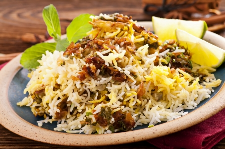 biryani: Biryani on the wooden table