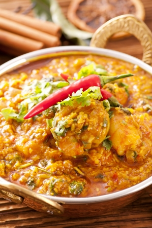 Prawn korma with chili photo