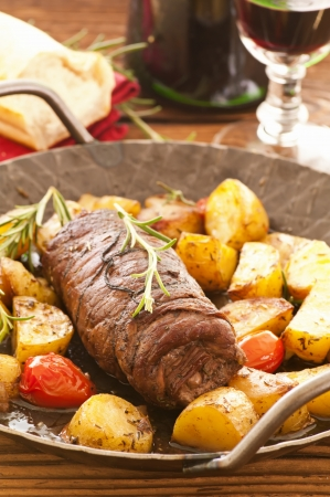 roulade: roulade with roasted potato Stock Photo