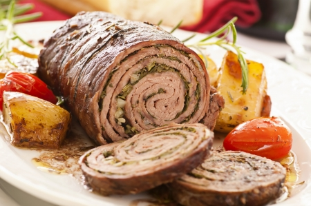 roulade: roasted roulade with vegetables