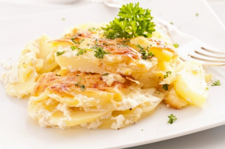 baked potato: Potato gratin Stock Photo