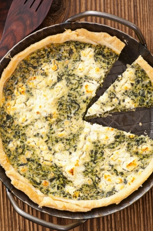 self starter: quiche with spinach and cheese Stock Photo