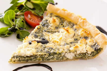Quiche with spinach and feta photo