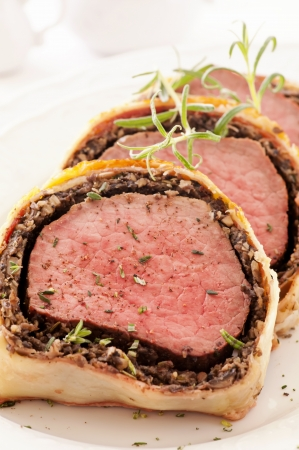 Fillet Wellington with fresh herbs photo