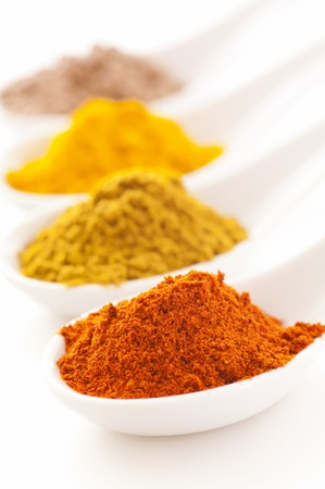 colored powder: spices
