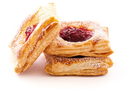 filo pastry: PAstries with raspberries