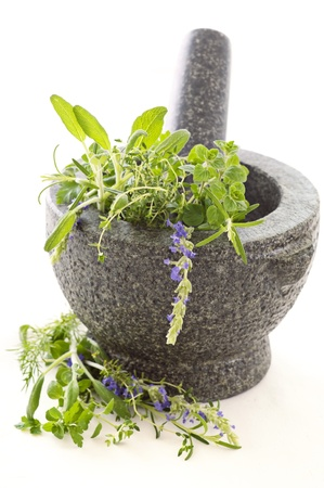 Fresh herbs in granite mortar photo