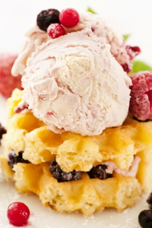 ice cream with waffles photo