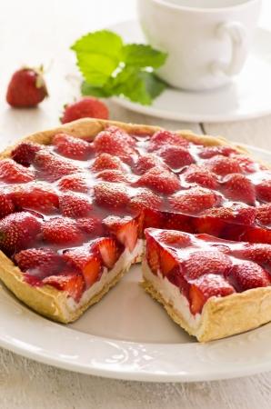 strawberry tart with quark filling photo