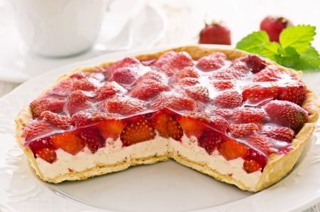 strawberry cake with quarkt fillinf photo