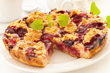 Pastry with cherry photo