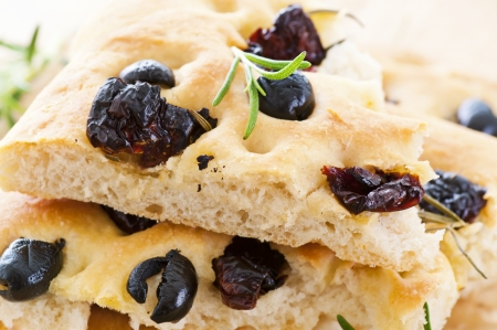 Focacci with black olives photo