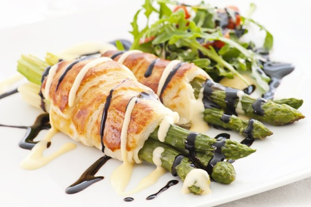 puff pastry: Green Asparagus baked in puff pastry Stock Photo