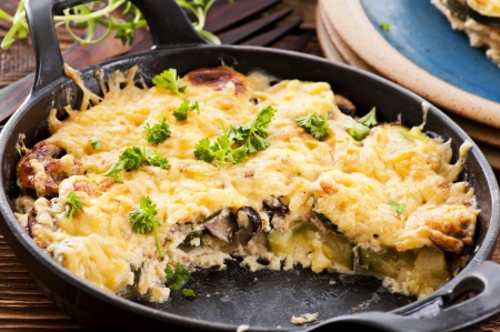 vegetables baked with cheese crust photo