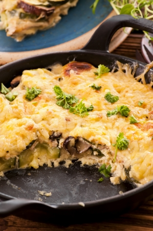 vegetable gratin baked with cheese photo