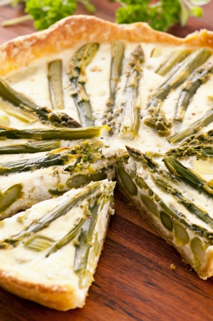 self starter: quiche with green asparagus Stock Photo