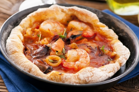 bread with seafood photo