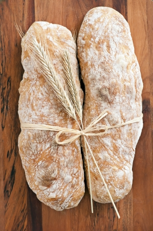 dekorated: artisan bread on the wood tabled