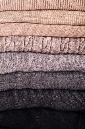 stacked up: wool sweaters as close up Stock Photo