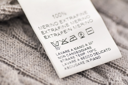 clothing label: loundry symbols on the wool clothes