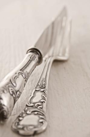 cubiertos de plata: cubiertos de plata como primer Foto de archivo