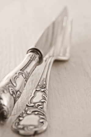 silver flatware as closeup photo
