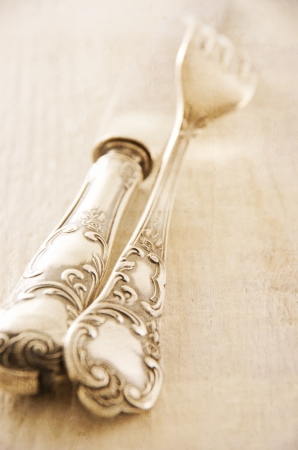 silver plated: antique silver flatware Stock Photo