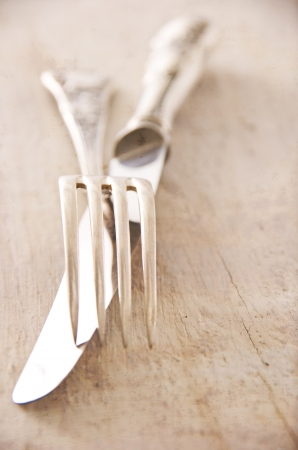 silver cutlery: old silver cutlery Stock Photo