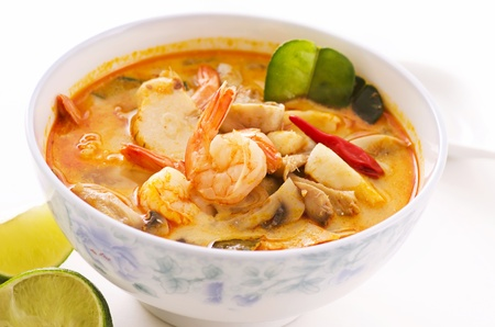 Tom yum thale soup in a bowl photo