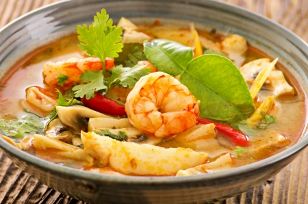 khon: Tom yam nam khon soup Stock Photo