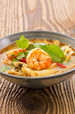 tom yam with seafood soup photo