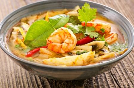 Tom yam soup with seafood photo