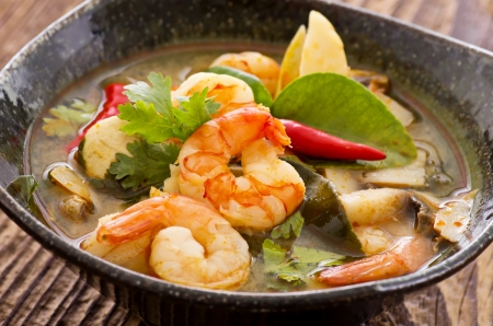 tom yam soup with seafood photo