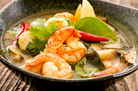 soup bowl: tom yam soup with seafood