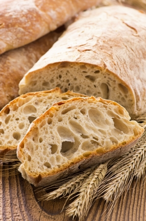 bakery oven: Ciabatta on the wood table Stock Photo