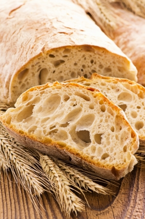 dekorated: ciabatta on wood tabled Stock Photo