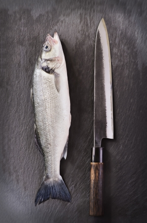 Fish and jananese knife photo