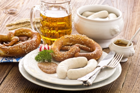 scalded sausage: bavarian breakfast with white sausage