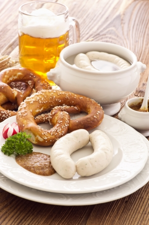obazda: bavarian white sausage breakfast Stock Photo