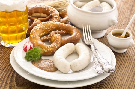 bavarian white veal sausage beakfast photo