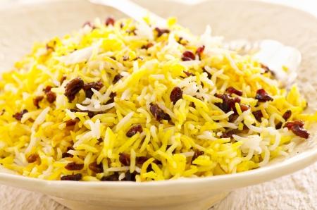 basmati: Persian saffron rice with berberis Stock Photo